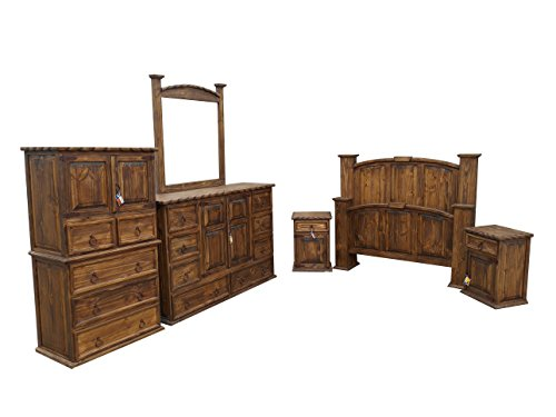 Cheap Dark Wax Rope Edge Western King Size Mansion Rustic Bedroom Set Free Delivery 6 Pcs (king) (KING)
