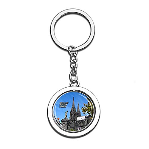 Clermont Ferrand Cathedral France 3D Crystal Creative Keychain Spinning Round Stainless Steel Key Chain Ring Travel City Souvenir Collection