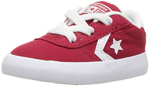 Canvas Varsity Sneakers - Converse Boys' Point Star Canvas Low Top Sneaker, Gym red/White, 1 M US Little Kid