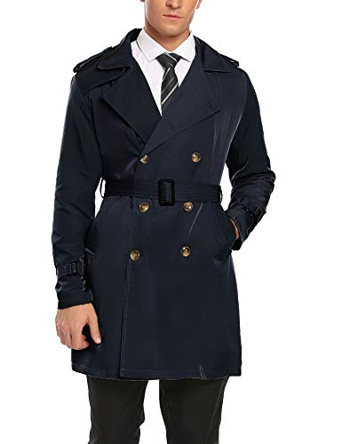 Elite Classic Cardigan - COOFANDY Mens Fashion Classic Double-Breasted Pea Coat Long Jackets Navy