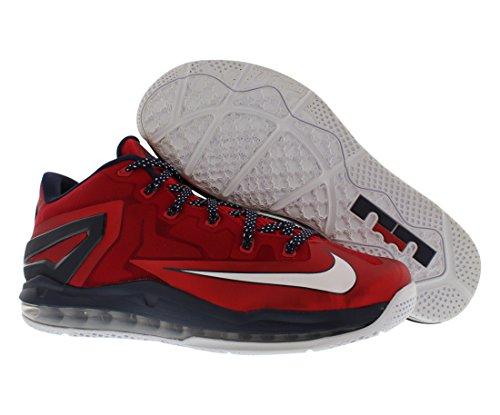 Nike Max Lebron Xi Università Bassa Rosso / Ossidiana / Bianca