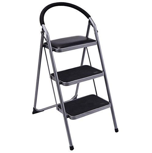 Price comparison product image 3 Steps Ladder Non-Slip Foldable Folding Step Stool Industrial Working Platform Portable Heavy Duty Lightweight Kitchen Bathroom Office Garage Use Sturdy And Safe