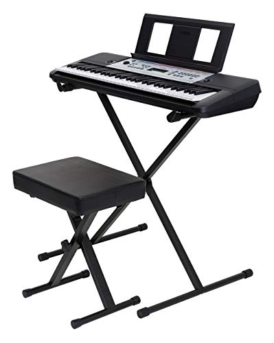 Yamaha YPT260 61-Key Portable Keyboard Bundle with Stand, Bench and Power Supply (Renewed)