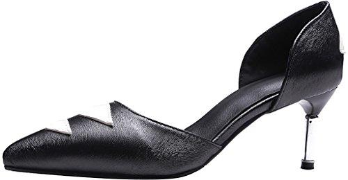 Calaier Damen Jtabc 6.5CM Stiletto Schlüpfen Pumps Schuhe Schwarz