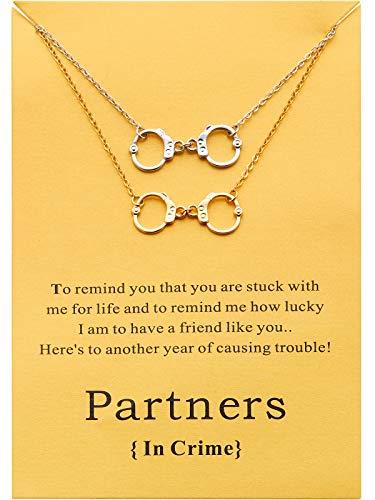 Boosic Handcuffs Charm Bracelet Partners In Crime Wish Bracelet Message Card Bracelet Best Gifts