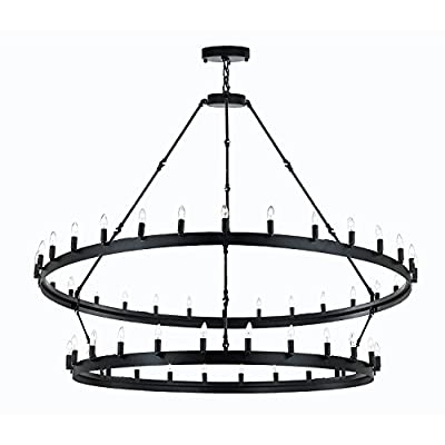 "Wrought Iron Vintage Barn Metal Camino Two Tier Chandelier Chandeliers Industrial Loft Rustic Lighting W 63"" H 60"""