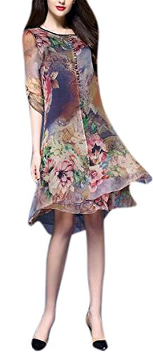 GESELLIE Womens Vintage Floral Print Silk Classy Crew Neck Casual Party Summer Midi - Silk Dresses Exquisite