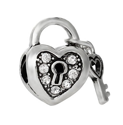 J&M Key to My Heart with Clear Crystal Charm Bead for Bracelets