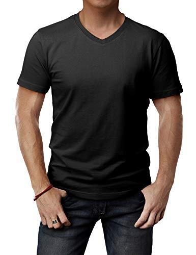 H2H Mens Basic Fashion Premium Washing Soft Cotton Blend V-Neck T-Shirts Black US L/Asia XL (CMTTS0197) ()