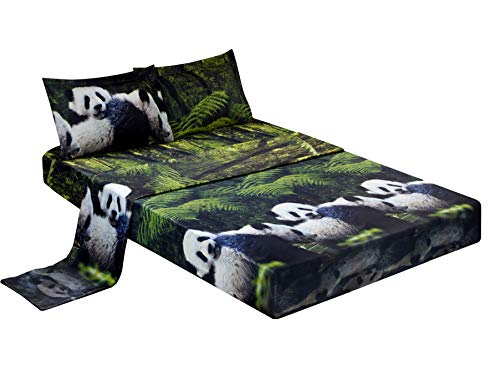 HIG 3D Bed Sheet Set -4 Piece 3D Panda Mom and Kids in Forest Printed Sheet Set King Size (Y29) - Soft, Breathable, Hypoallergenic, Fade Resistant -Includes 1 Flat Sheet,1 Fitted Sheet,2 Shams ()