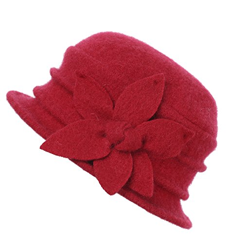 Dantiya Womens Winter Warm Wool Cloche Bucket Hat Slouch Wrinkled Beanie Cap with Flower (Flower-Red) (Slouch Ladies Red Hat)