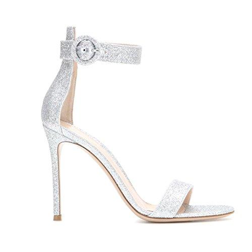 EDEFS - Zapatos con tacón Mujer plateado mate