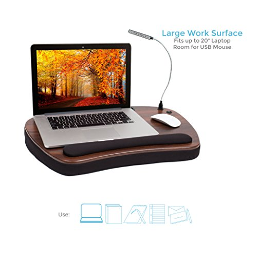 Sofia + Sam Oversized Memory Foam Lap Desk with Detachable USB Light (Black) | Supports Laptops Up to 20 Inches by Sofia + Sam (Image #1)