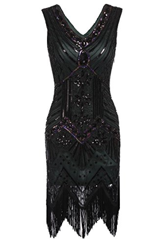 Dresses Neck Gatsby Beaded Flapper green Vintage Flapper Hem Tassels 1920s C Fringed Lace Bifast Women's V Dress Great EqFwE6Y