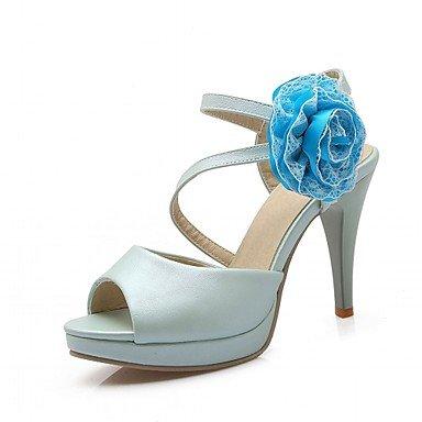 LvYuan Mujer-Tacón Stiletto-Confort Innovador-Sandalias-Oficina y Trabajo Informal Fiesta y Noche-Sintético Semicuero PU-Azul Rosa Morado Blanco White