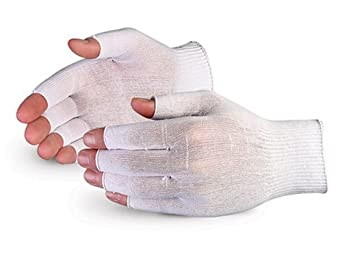 Superior STN120HF Superior Touch Ultra Thin Nylon 1/2 Finger String Knit Glove with Knit Wrist Cuff, Work (Pack of 1 Dozen)