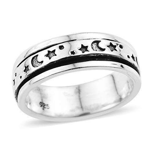 925 Sterling Silver Handmade Moon Stars Spinner Ring for Women Jewelry Gift Size ()