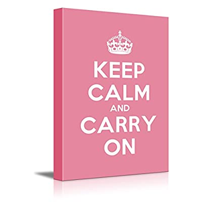 Canvas Wall Art Gallery Wrap Canvas Prints - Keep Calm and Carry On | Stretched Pink Canvas Home Art Ready to Hang - 24