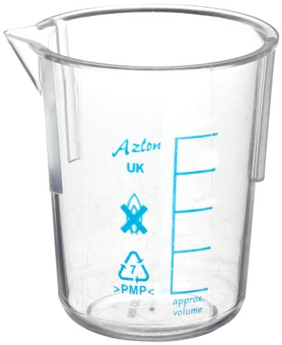 (Azlon 522765-0050 Polymethylpentene Low Form Tapered Graduated Beaker with Printed Graduations, 50mL Capacity (Pack of 10))