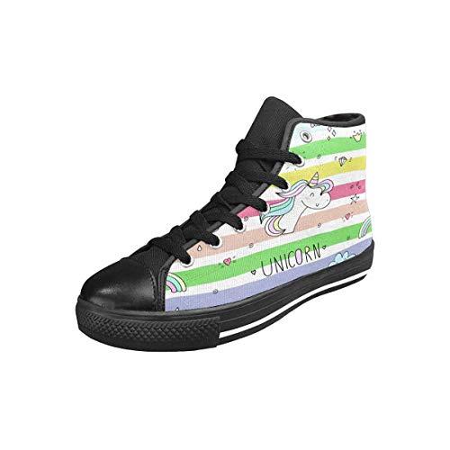 INTERESTPRINT Women's High Top Sneaker Canvas Shoes Cute Hand Drawn Unicorn US8 (Hand Drawn Shoes)