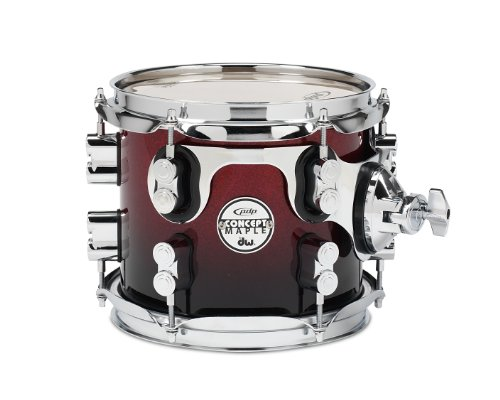 Chrome Hardware Fade Red - Pacific Drums PDCM0708STRB 7 x 8 Inches Tom with Chrome Hardware - Red to Black Fade