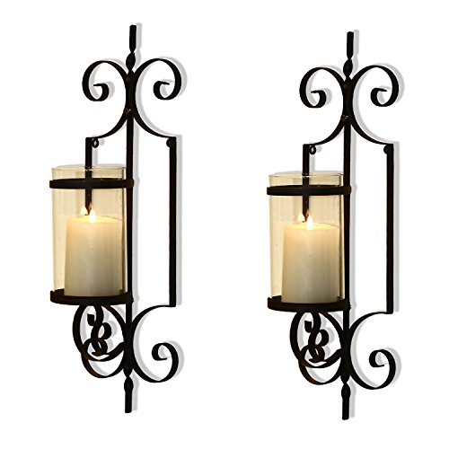 FrameArmy Cast Iron Vertical Wall Hanging Accents Candle Holder Sconce (Set of - Hanging Cast Iron
