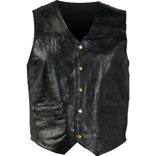 Giovanni Navarre Italian Stone Design Genuine Leather Vest Fully Lined With Snap Button GFV - Fully Leather Lined Vest