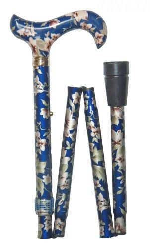 Bastone da passeggio pieghevole, da donna, altezza regolabile, motivo floreale, colore: blu scuro