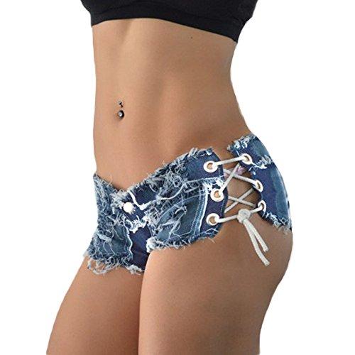 DELEY Frauen Mädchen Quaste Verband Party Nacht Club Ausgefranste Seil String Jeans Shorts Hotpants Größe M