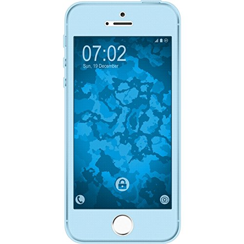 PhoneNatic Case für Apple iPhone 5 / 5s / SE Hülle Silikon hellblau 360° Fullbody Cover iPhone 5 / 5s / SE Tasche Case