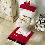 Oplaza Santa Toilet Seat Cover and Rug Sets Christmas Decor