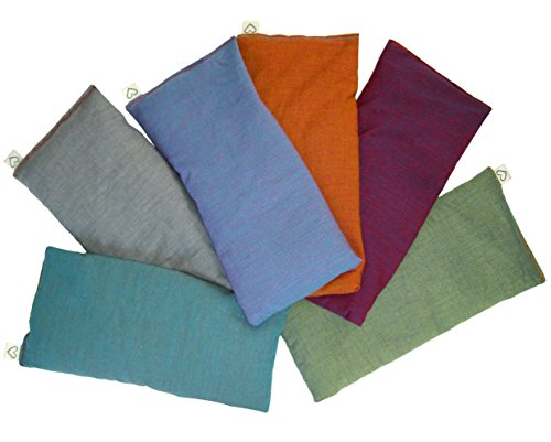 (Peacegoods (6) Unscented Organic Flax Seed Eye Pillows - 4 x 8.5 - Soft & Soothing Cotton - Naturally Calming Colors)