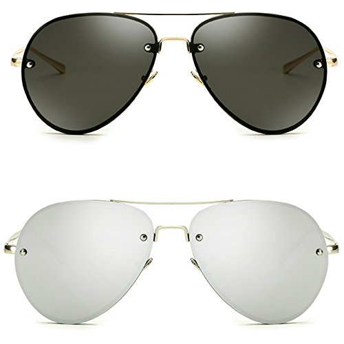 Freckles Mark Oversize Gold Metal Mirror Clear Men Women Aviator Sunglasses 62mm (2 pack: Black+Silver, 62MM)