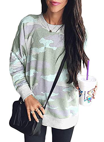 Sidefeel Women Long Sleeve Crewneck Pullover Camo Print Sweatshirt Jumper Top XX-Large Green