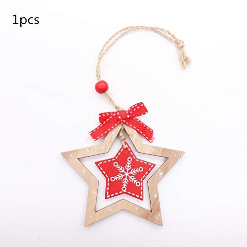 JEWH Christmas Wooden Pendants - DIY Wood Crafts Star&Heart - Xmas Tree Hanging Ornaments - Christmas Party for Kids - Gift Home Decorations (Stretch 3)
