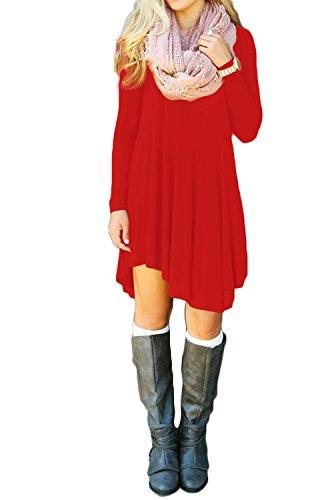 TINYHI Long Loose Sleeve Casual Sage Green Dress (Red Christmas Dress)