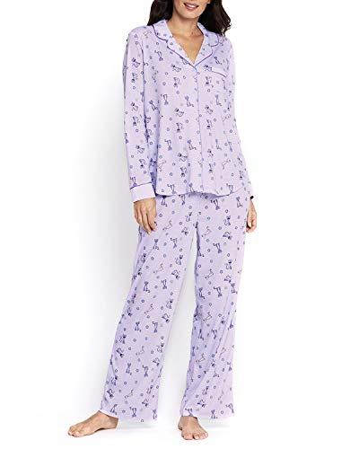 (Karen Neuburger Women's Pajamas PJ Set (X-Large, Cats Print - Small Flowers - Lilac with Purple Piping Trim) )