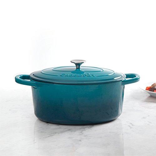Crock Pot 109475.02 Artisan Cast Iron Dutch Oven Non-Stick Surface, 7 quart, Teal Ombre