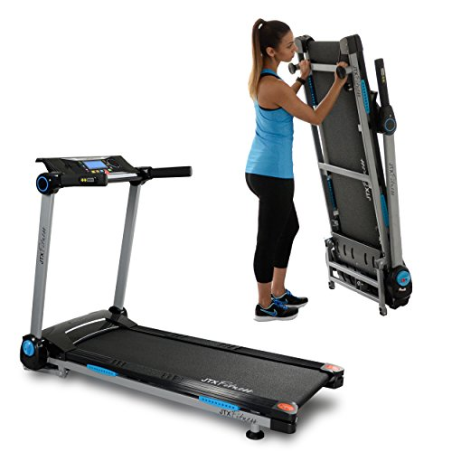JTX Slim Line: FLAT FOLDING TREADMILL. Compact, Motorised Treadmill with Digital Incline. 100% Assembled.