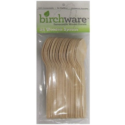 Compostable Wooden Spoons, Biodegradable Party Supplies for Any Graduation, Luau, Fiesta, Tea Party, and More, Craft Supplies for Kids and Adults - Birchware Classic Set (24 Spoons)