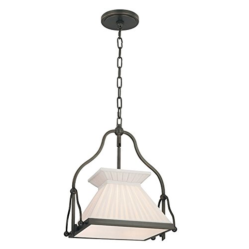Hudson Valley Lighting Clifton 1-Light Pendant - Old Bronze Finish with White Box Pleat Faux Silk Shade Old Bronze Finish Chandeliers