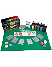Relaxdays Pokerset, 200 chips, speelmat, 2 kaartdecks, dealerbutton, blinde knoppen, casino-feeling, professioneel pokerspel