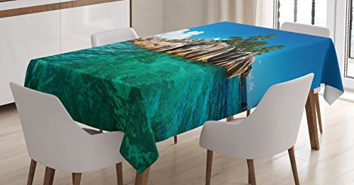 St Pierre Islands (Ocean Island Decor Tablecloth by Ambesonne, St. Pierre Island at Seychelles Wild Natural Granite Romance Relaxation Mediterranean Picture, Dining Room Kitchen Rectangular Table Cover, 52 X 70 Inches)