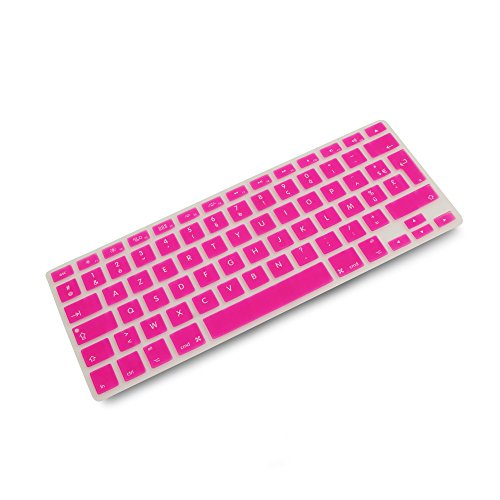 System-S Silicone AZERTY French Keyboard Cover for MacBook Pro 13 Inch 15 Inch 17 Inch iMac MacBook Air 13 Inch Pink