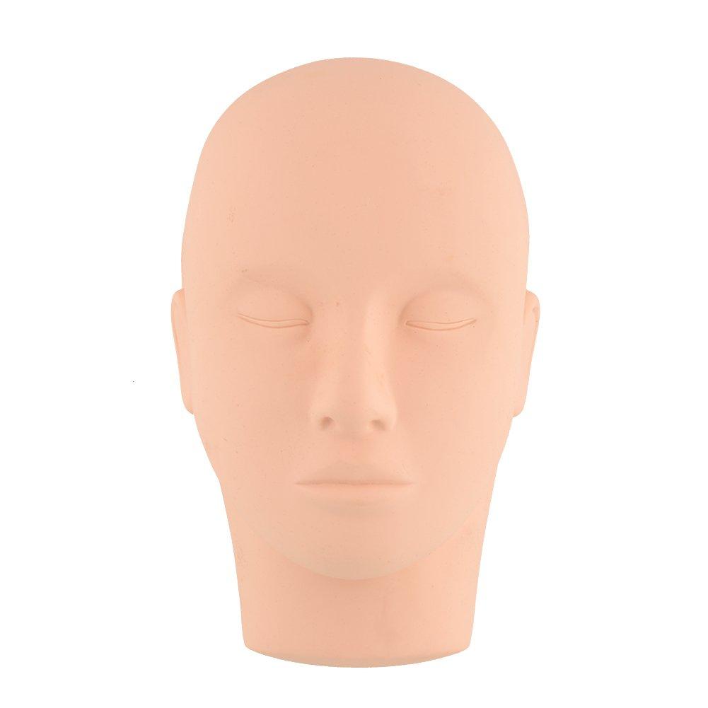 Kicode Formazione di bellezza Mannequin Make Up Practice A testa piatta falso occhio Lashes Mannequin Manichino testa