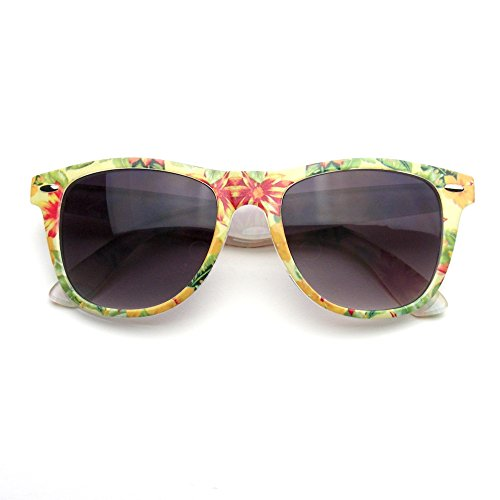 Retro Indie Fun Pattern Color Assorted Print Sunglasses (Yellow - Sunglasses Flowers