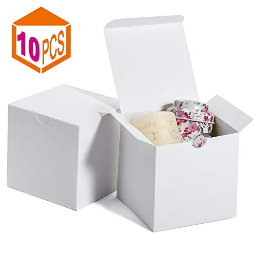 MESHA Gift Boxes 4x4x4 Inches,Kraft Paper Gift Boxes with Lids for Gifts,Crafting,Cupcake,Cardboard Boxes,Bridesmaid Proposal Boxes,Wedding Favor Boxes,Gift Ornaments,Easy Assemble Boxes, (10)
