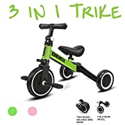 #LightningDeal KORIMEFA 3 in 1 Kids Trike for Children 1-3 Years Old Kids Tricycle Boys Girls Baby Balance Bike 2 Wheels for Toddlers Tricycle with Removable Pedals