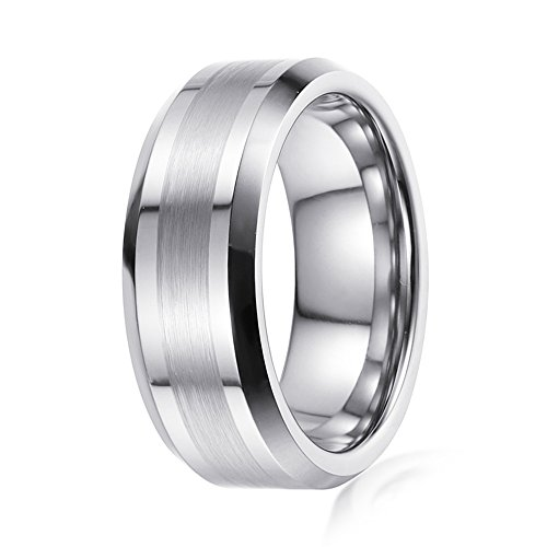 Silver Tungsten Wedding Band 1/2 Satin Brushed Finish Band. In 6mm & 8mm. Free Engraving. (tungsten (6mm), 6) (Mens Satin Finish)