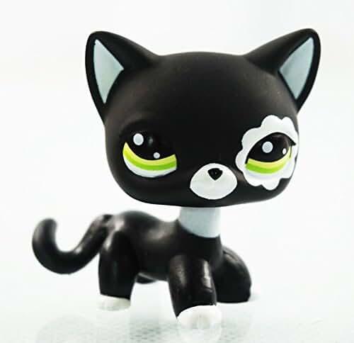 Rare Black Cat Green Eyes Flower Patch Kids Toy Littlest Pet Shop LPS #2249